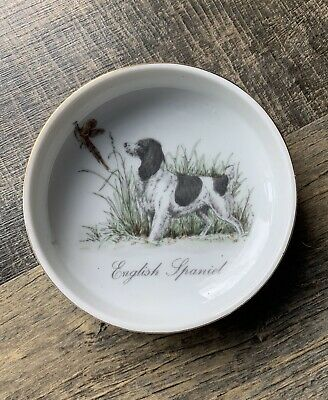 Vintage Porcelain Hunting English Spaniel Dog & Pheasant Trinket Dish