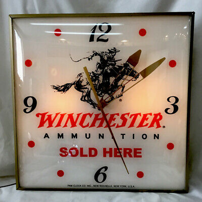 """Vintage  """"WINCHESTER Ammunition Sold Here"""" advertising clock by Pam"""