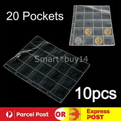 10x 20 Pockets Coin Holders Folder Pages Sheets For Collection Album Storage K
