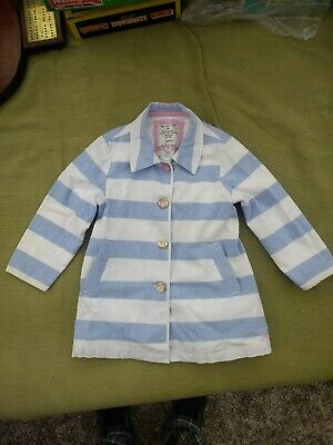 JOULES Blue & White Striped Girls Lightweight Coat age 4 Years