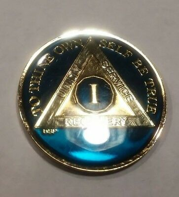 1 Year AA Sobriety Coin Medallion- Rich Midnight Blue Enamel One 1st Recovery