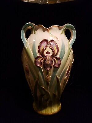 Antique French Sarreguemines marked Lilly Vase rare L2976