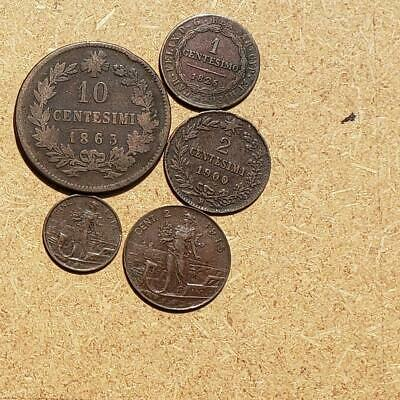 1826 - 1915 5x OLD ITALIAN COINS LOT, interesting collection