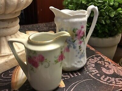 (2) German Antique Small Creamers-Hand Painted-Roses/Floral-Porcelain-FREE SHIP!