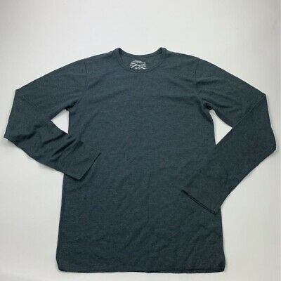 Grunt Style Mens Basic T-Shirt Gray Textured Long Sleeve Thermal Knit M New