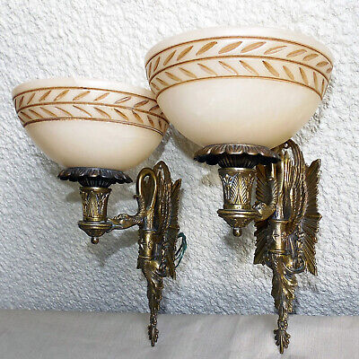 Pair Of Antique French Style Swan Wall Light Sconce Solid Bronze & Alabaster