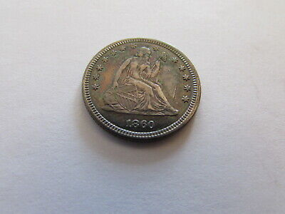 1860 Seated Liberty Quarter Philadelphia 25 Cents Silver Coin 25c Toned Color