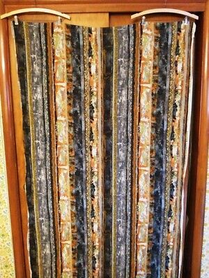 Great Pair of Midcentury Abstract Screen Printed Linen Fabric Curtain Panels