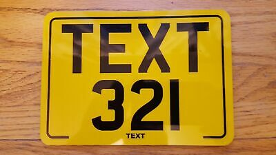 9x7 Reflective Yellow Text Plate motorcycle