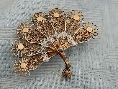 """Antique Chinese 800 Silver filigree export """"Fan"""" brooch, good original condition"""