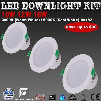 10W 12W 16W Recessed LED Downlight Kit Dimmable Warm/Cool White Samsung LED Chip
