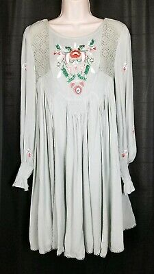Anthropologie Free People Mohave Embroidered Dress Mint Green Rayon NEW Medium