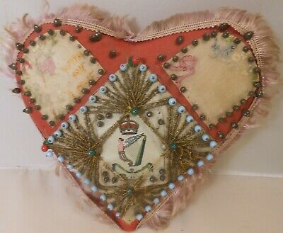 Great Victorian Love Token Heart Pincushion, Beadwork and inset motto Cards