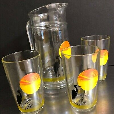 VTG Glassware Juice Pitcher 3 Glasses Sun Bird Motif Made Italy Orange Yellow