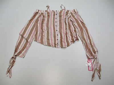 new XHILARATION Blouse Women Size S Button Detail Stripe Pink Off Shoulder