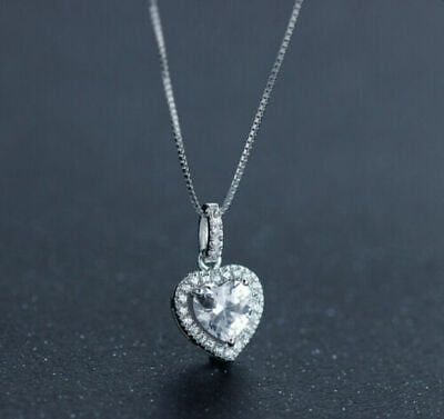 Heart Crystal Stone Pendant Necklace 925 Sterling Silver Chain Womens Jewellery