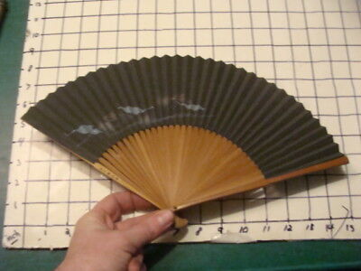 Vintage Original: JAPANESE FAN early hand painted  -- blue leaves above stream -