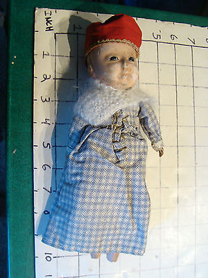 vintage doll: early  DOLL, poor shape, added hair and clothes, missing feet