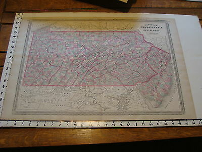 vintage map: 1864 Johnson's Atlas Large Map of PENNSYLVANIA & NEW JERSEY