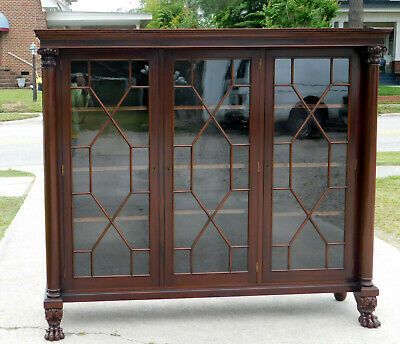 Mahogany 3 Door Bookcase China Display Cabinet circa1900
