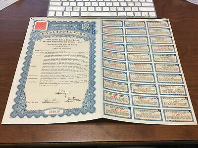 27th year Gold Loan of Republic China $5 US Bond w all coupons May 1, 1938
