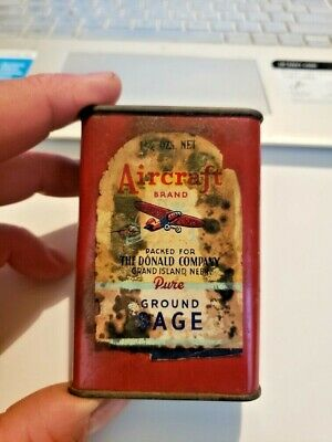 Antique Aircraft Allspice Spice Tin Grand Island Ne Can Vintage Grocery Store