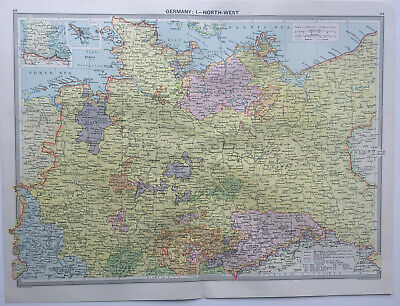 Antique Map Of Germany North West Prussia  1930 Large