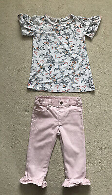 Toddler Girl Pink Floral Top/Ruffle Cropped Jeans Outfit Age 2-3 Years Gap