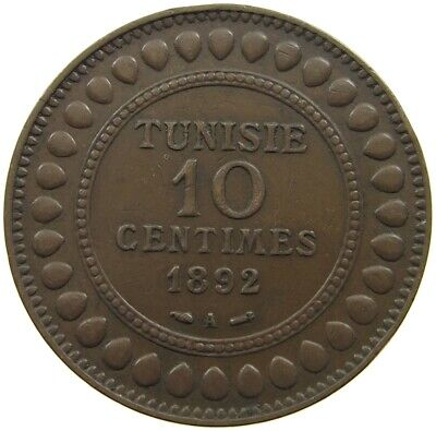 Tunisia 10 Centimes 1892 Top   #Ln 153