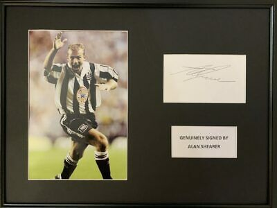 Signed Framed Alan Shearer Newcastle United Autograph Card Presentation England