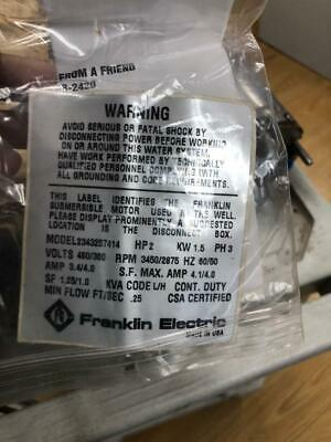 FRANKLIN ELECTRIC 2 HP Deep Well Submersible Pump Motor MOD-2343257414-460 V