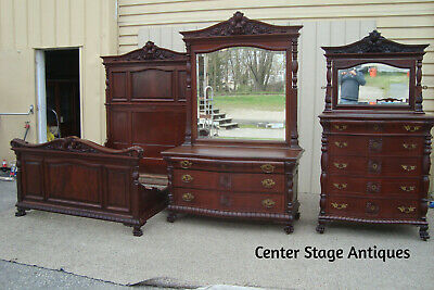 00001 Antique Mahogany Victorian Bedroom Set High w/ Mirror Dresser w/ mirror