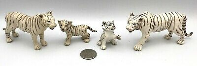 Schleich WHITE TIGER FAMILY Male Female & 2 Cubs Wildlife Figures 2007 Retired
