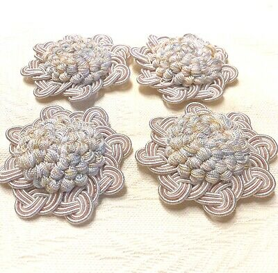 Pair Vintage Clarence House French Passementerie Rosette/Button Trim Pink/Blue