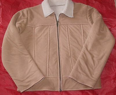 Girls Camel Coloured Sheepskin Look Jacket Age 10 Years By Marks & Spencer