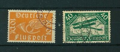 Germany 1919 Airmail full set of stamps. Used. Sg 111-112.