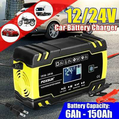 Automatic Intelligent Smart Car Battery Charger Pulse Repair Starter 12V 24V LCD