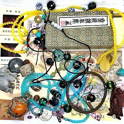 Old Antique Style Vintage Junk Drawer Lot Chinese Asian Collectibles Jewelry BIN