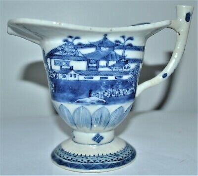 an antique Chinese export white and blue cup / jar of Qing dynasty