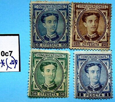Spain  0c7 🌀 MH MNG 1976 Alfonso XII nuevos 179 180 177 175, bueno. aprx 80€