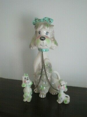 Vintage Mid Century Pink Kriess & Co Poodle and 2 Pups with Chains