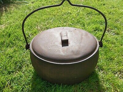 Antique Izons & co 5 Gallon Imperial CAST IRON COOKING POT, GYPSY POT WITH LID
