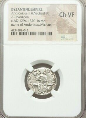 Byzantine Empire Andronicus II & Michael NGC CH VF Ancient Silver Coin