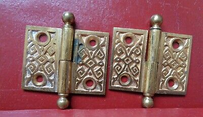 "Antique Cast Brass Lift Off Hinges 1 Left 1 Right Hand 1 1/2"" X 2"""