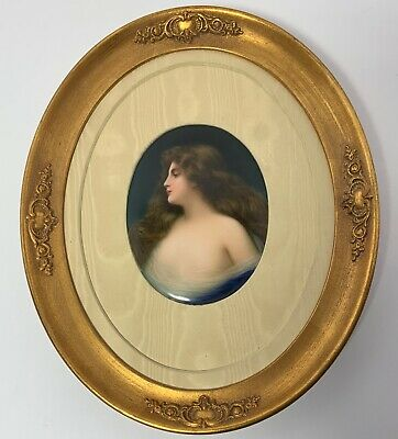Antique PORCELAIN PLAQUE ASTI WOMAN Signed WAGNER Hand Painted German
