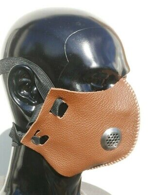 Leather Face Mask Cover Filter Vent Ppe Protection Steampunk Goth Handmade Fun