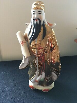 Chinese Famille Rose Fu  God figurine Porcelain Statue Antique