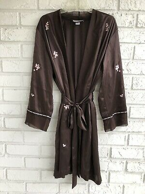 Morgan Taylor Intimates Short Robe Satin Embroidered  Women's Brown Size XL
