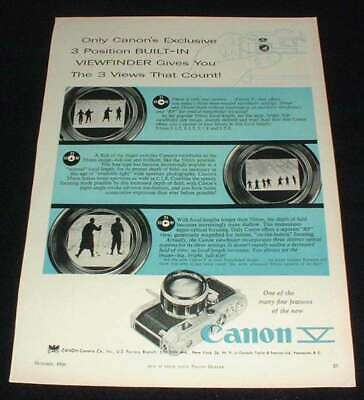 1956 Canon V Camera Ad, Built-in Viewfinder!!