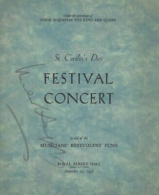 Sir Malcolm Sargent Signed 1948 St Cecilia's Day Programme  -  Uacc Rd Autograph